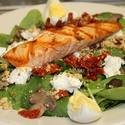 Trail Baby Spinach with Grilled Salmon